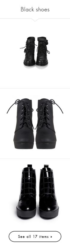 """Black shoes"" by ffxi-phantom ❤ liked on Polyvore featuring shoes, boots, ankle booties, sapatos, botas, shearling-lined boots, leather lace up boots, leather lace up booties, heeled boots and heels"