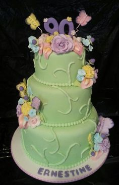 Birthday Cake Photos - I was honored to make the cake for a dear lady's 90th birthday