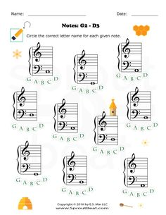 Christmas Note Name Worksheet. Great practice for treble