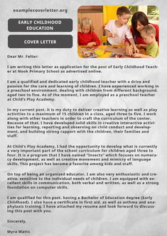 Early childhood education cover letter is an important document with the resume…. – Best Quotes images in 2019 Writing A Cover Letter, Cover Letter Example, Cover Letter For Resume, Cover Letters, Preschool Teacher Resume, Teaching Resume, Education Jobs, Education Quotes, Teacher Application