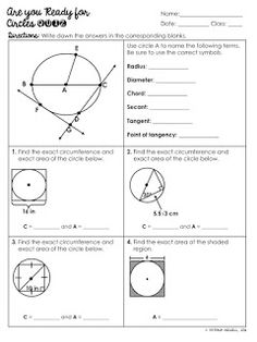 FREE Circles Basics Quiz (Vocabulary, Area, Circumference, Shaded Regions, and Tangent Lines) Circle Math, Circle Geometry, Math Classroom, Future Classroom, Geometry Worksheets, Secondary Math, Vocabulary, Circles, Teaching