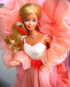 80's Peaches N' Cream Barbie. I remember thinking this dress was the most beautiful thing I'd ever seen.