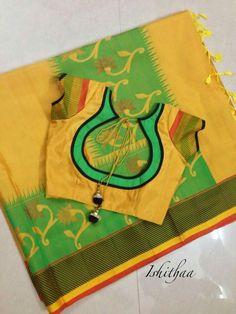 Simple pattern blouse designed at Ishithaa ! Patch Work Blouse Designs, Simple Blouse Designs, Mirror Blouse Design, Garra, Chudidhar Neck Designs, Blouse Designs Catalogue, Saree Blouse Neck Designs, Churidar Designs, Designer Blouse Patterns