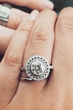 Vintage Wedding Rings For Brides Who Love Classic ❤ vintage wedding rings halo white gold round cut ❤ More on the blog: https://ohsoperfectproposal.com/vintage-wedding-rings/