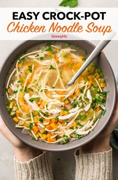 Chicken soup is good for the soul, and this Easy Crock-Pot Chicken Noodle Soup is good for your waistline! No one will even know it's healthy. Slow Cooker Recipes, Crockpot Recipes, Soup Recipes, Cooking Recipes, Freezer Recipes, Hamburger Recipes, Freezer Cooking, Vegetarian Cooking, Slow Cooking