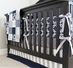 Custom Crib Bedding Navy Blue and Grey Elephant by GiggleSixBaby, $410.00