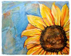 Artwork to encourage cancer patients.  10% goes towards raising money for finding a cure for cancer.    Mixed media Giclee of Sunflower art titled  I by InspiringFlowers, $25.00