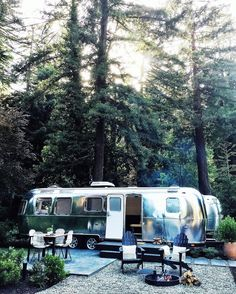 """At AutoCamp in Guerneville and Santa Barbara, California, """"rooms"""" are actually shiny new Airstream trailers outfitted with chic seating areas. Airstream Living, Airstream Campers, Vintage Airstream, Vintage Trailers, Vintage Campers, Camper Trailers, Airstream Sport, Classic Trailers, Remodeled Campers"""