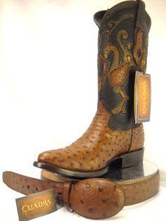 mens CUADRA AUTHENTIC ostrich western COWBOY BOOTS W/MATCHING BELT *ALL SIZES* #CUADRA #CowboyWestern