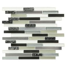 Instant Mosaic 12 In X 7 Mm L And Stick Gl Stone Metal Wall Tile Pure White Grey Shades