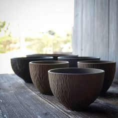 dyed with Ohaguro Tooth Black. Work in progress. bowls and tumblers #ebonized #woodturning #woodcarving #木工 #woodworking #bowl #atelierdehors #ハンドメイド