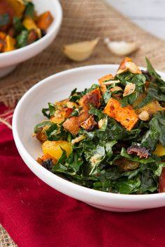 : Rockin' Roots Warmed Kale SaladCinnamon roasted root veggies, combined with soft greens, toasted squash seeds and a garlic dressing. Serve this salad warm, fresh out of the oven.