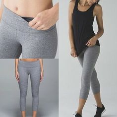 2abc9271fc Details about Lululemon Gray Crop Pants Drawstring Flare Yoga Running Gym  Pants Sz 6