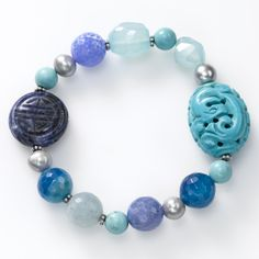 Turquoise, Sodalite, Agate and Freshwater Pearl Stretch Bracelet, Sterling Silver