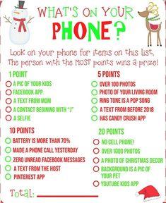 FREE PRINTABLE! What's on Your Phone Christmas Party Game! | #freeprintables #printable