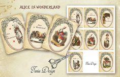Alice in Wonderland   digital collage sheet  set of от TaniaDesign
