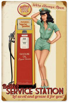 Bettie Service Station Vintage Metal Sign 12 x 18 Inches