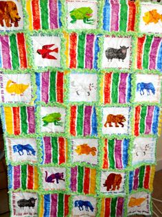 "Eric Carle ""Brown Bear, Brown Bear"" rag quilt for a children's book theme baby shower (mother-to-be is a teacher)"