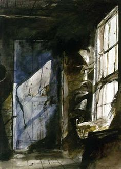 Where the Benjamin Moore color Wyeth Blue came from: Blue Door / Andrew Wyeth / 1952 / watercolor on paper / Delaware Art Museum Andrew Wyeth Paintings, Andrew Wyeth Art, Dark Paintings, Beautiful Paintings, Jamie Wyeth, Wyeth Blue, Art Watercolor, Oeuvre D'art, Painting & Drawing