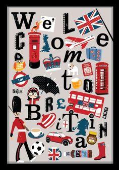Union Jack London British Heart Art Print by Zeppi Prints https . England Uk, London England, London Eye, Big Ben, British Things, Thinking Day, British Invasion, London Calling, Planner