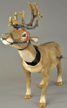 Impressive size and exceptional detail, this lifelike animal is covered with fur-like hide, leather and cloth harness. Christmas Moose, German Christmas, Old Fashioned Christmas, Antique Christmas, Christmas Past, Vintage Christmas Ornaments, Christmas Things, Christmas Decorations, Primitive Santa