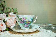 beautiful tea cups and saucers | Vintage Colclough Tea Cup and Saucer. Beautiful floral horseshoe ...