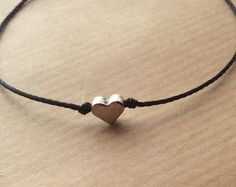 Corazón pulsera, pulsera amistad, pulsera delicada, pulsera ajustable, deseo pulsera, pulsera de amor