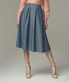 Look at this #zulilyfind! Jeans Blue Pleated A-Line Skirt by NIFE #zulilyfinds