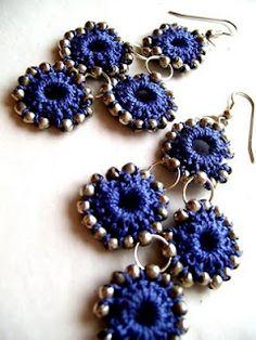 Crocheted beaded circles earrings