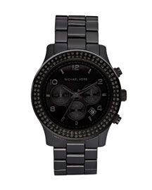 Michael KorsBlackout Glitz Watch •Black ceramic bracelet strap with deployant buckle closure.  •Black pave crystals adorn round bezel.  •Black face with tonal time stops.  •Three-hand movement.  •Date window.  •Logo crown.  •Stop watch function.  •Imported.