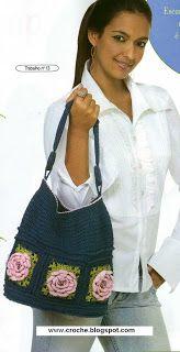 bolsa azul flores | croche croche