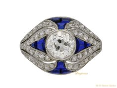 Diamond and tallow top sapphire ring, French, circa 1905.