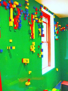 Children can build from floor to ceiling in this LEGO-covered room