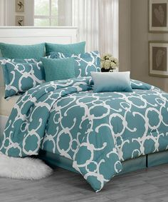 Take a look at this Dusty Blue Rhys Quilted Overfilled Comforter Set by Duck River Textile on #zulily today!