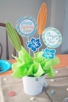 boys surfs up birthday party centerpieces - surf shack - surfing themed birthday party idea