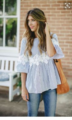 ~~pin stripe blue bell sleeve top with lace detail. So pretty for spring! Stitch fix spring summer fashion trends 2017 #affiliatelink