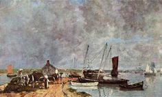 """Eugène Boudin, """"Le Port du Passage à Plougastel"""", 1870, oil painting."""