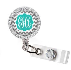 Retractable ID Badge Reel Personalized Gray and Teal by PoshReels, $10.95