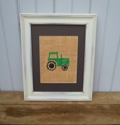 Tractor Wall Art Print on Burlap 8x10 / Children's Wall Art / Nursery Decor / Primitive Wall Art. $15.00, via Etsy. For JR's room!