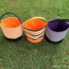 Wholesale Cheap Personalized Halloween Bucket Polka Dot stripe printed Easter…