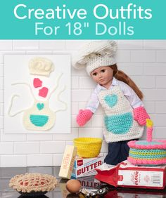 "Creative Outfits for 18″ Dolls - a whole page of free Crochet patterns for 18"" dolls"