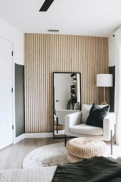 A dramatic before and after of our guest bedroom that involves beautiful furniture and decor from IKEA, a moody olive green paint, and a DIY wood slat wall. Interior Cladding, Interior Walls, Interior Design, Wood Slat Wall, Wood Slats, Wall Behind Bed, Accent Wall Bedroom, Wooden Wall Bedroom, Up House
