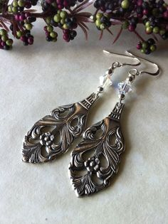 Beautiful Vintage Demitasse Spoon Earrings with Sterling Silver and Swarovski Crystals. 2ndlifejewels.etsy.com