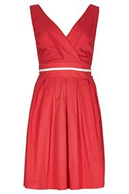 Coral Ribbon Waist Structured Dress