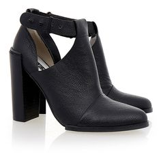 Senso Sienna II Black Calf Grained Cut Out Boot (7.805 RUB) ❤ liked on Polyvore featuring shoes, boots, booties, heels, zapatos, black, black buckle boots, leather boots, black heel boots and leather buckle boots