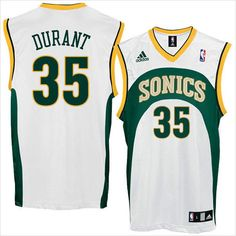 Mens Seattle Supersonics Kevin Durant 35 White Authentic NBA Jersey on eBid United States