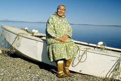 picture of Inupiat Eskimo Woman in her kuspuk and muks