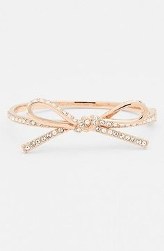 I just got this, super cute! Now I need the earrings to match! kate spade new york 'skinny mini' bow bangle, Nordstrom