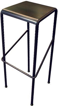 Tabouret haut en tôle acier et fer à béton Made by Un.steel