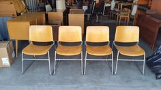 Set Vintage 1960's David Rowland 40/4 Stack Chairs Mid Century Modern Birch Plywood Chrome Sled Base MCM